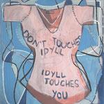 "Eva Hradil ""Don't touch idyll, idyll touches you"" 2013, Eitempera auf Halbkreidegrund auf Leinwand, 90 x 80 cm"