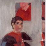 """GALERIE PEITHNER LIECHTENFELS Eva Hradil """"SP Spiegelrand""""2004, Öl auf Leinwand 90 x 80 (Bild kam während der Ausstellung zu Schaden und verblieb unersetzt dort)"""