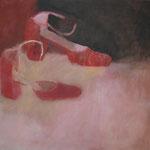 "SOLD Eva Hradil ""rosa braun rot"" Öl auf Leinwand, 80 x 90 cm"