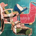 """Eva Hradil """"meeresgrüner Hintergrund"""" Öl und Eitempera auf Leinwand, 130 x 150 cm"""