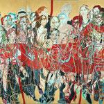 """SOLD Eva Hradil """"Tango Organ/Wiener Reigen"""", Eitempera auf Halbkreidegrund auf Leinwand, 200 x 300 cm, Triptychon, im Besitz von AK NÖ"""