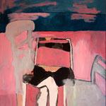 """Eva Hradil """"versteckt"""" Öl und Eitempera auf Halbkreidegrund auf Leinwand, 140 x 130 cm"""