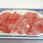 """Brotberuf Malerei"" Ausstellungsansicht, Galerie Eboran Salzburg, Abb: ""Brotberuf Malerei, Erdbeermarmelade"" 200 x 400 cm"