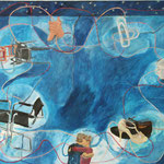 "SOLD Eva Hradil ""Abrazos y rondas"" 2018 Eitempera auf Halbkreidegrund auf Leinwand, 110 x 130 cm"