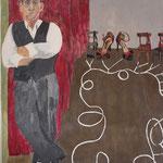 "Eva Hradil ""El Tanguero"" Eitempera auf Halbkreidegrund auf Leinwand, 130 x 110 cm"