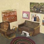 "SOLD Eva Hradil ""Cosy Corner / Familienbild"" 2018, Eitempera auf Halbkreidegrund auf Leinwand, 80 x 90 cm"