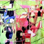 """SOLD Eva Hradil """"Patchwork"""" Öl und Eitempera auf Leinwand, ca. 210 x 280 cm"""