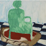 """Eva Hradil """"Interieur-Brot"""" 2018, Eitempera auf Halbkreidegrund auf Leinwand, 30 x 33 cm"""