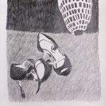 """Eva Hradil, aus Zeichenserie """"Brautkleider waren mir immer zu eng"""""""