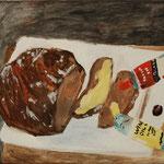 """Eva Hradil """"Ich mal mir mal die Butter aufs Brot"""" 2018, Eitempera auf Halbkreidegrund auf Leinwand, 45 x 50 cm"""