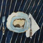 """Eva Hradil """"Butterbrot auf Goldrandteller"""" 2018, Eitempera auf Halbkreidegrund auf Leinwand, 45 x 50 cm"""
