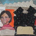 "Eva Hradil ""Past"" 2015, Textil, Eitempera auf Leinwand, 80 x 90 cm"