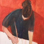 """Eva Hradil """"konzentriert arbeiten"""" 2003 Öl und Eitempera auf LW, 90 x 80 cm"""