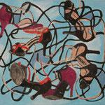 """SOLD Eva Hradil """"Fliegen können"""" 2015, Eitempera auf Halbkreidegrund auf Leinwand, 45 x 50 cm"""