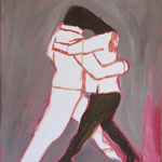 """Eva Hradil """"Umarmung von Schmelzköpfen"""" Öl und Eitempera auf Halbkreidegrund auf Leinwand, 50 x 45 cm"""