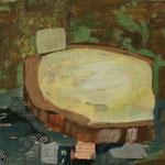 """Eva Hradil """"Brot(h) an der Donau"""" 2018, Eitempera und Collage auf Molino, 50 x 60 cm"""