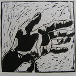 """Eva Hradil, """"Hand"""" (allererster Holzschnitt) 2003"""