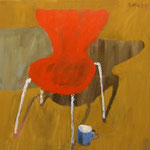 """SOLD Eva Hradil """"Roter Sessel mit Schatten"""" Pigemente und Arcylbinder auf Leinwand, 80 x 90 cm; ARTOTHEK KREMS"""