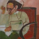 """SOLD Eva Hradil """"Sie schreibt, er liest"""" Eitempera auf Leiwand, 90 x 80 cm"""