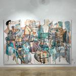 """Eva Hradil, Hausherrinnenkunst, Ausstellungsansicht, Bild: """"zwischen/inmitten"""", Foto: P. Kainz"""