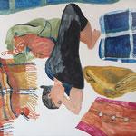 """Eva Hradil """"Mittagsschlaf"""" Eitempera auf Halbkreidegrund auf Leinwand 110 x 130 cm"""