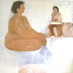 """Eva Hradil """"Modell und Zeichnerin"""" 2003, Eitempera auf Leinwand, 130 x 130 cm"""