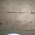 """Zeichnungen aus der Serie """"Meetings"""" von Eva Hradil"""