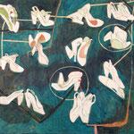 """SOLD Eva Hradil """"Kamasutra"""" Öl, Eitempera, Bleistift auf Halbkreidegrund auf Leinwand, 110 x 130 cm"""