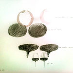 "Eva Hradil ""Rotweinglaeser Variante 3"" 2014 Bleistift auf Papier, 40 x 50 cm"
