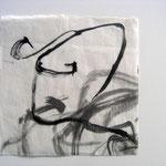 Eva Hradil, Written Shoes 2001, Tusche auf Reispapier