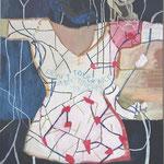 "Eva Hradil ""Don't touch art, art touches you"", Eitempera auf Halbkreidegrund auf Leinwand, 90 x 80 cm"