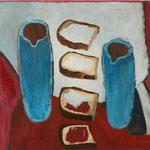 "SOLD Eva Hradil ""4 Brote, 2 Kannen"" 2018, Öl auf Leinwand, 50 x 60 cm"