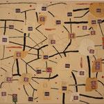 """Eva Hradil """"Gefüge I"""" Eitempera, Papier, Bleistift auf Molino 50 x 60 oder 60 x 50 cm"""