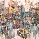 """Eva Hradil """"zwischen inmitten"""" 2009, Eitempera auf Halbkreidegrund auf Leinwand, 200 x 300 cm, Triptychon"""