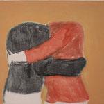 "Eva Hradil ""Umarmung, kopflos"" 2013, Eitempera auf Halbkreidegrund auf Leinwand, 50 x 45 cm, im Katalog ""beziehungsweise"" abgebildet"