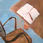 """SOLD Eva Hradil """"hautfarbenes Tischbein"""" Eitempera auf Halbkreidegrund auf Leinwand, 80 x 90 cm"""