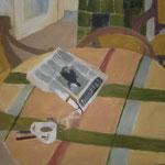 """SOLD Eva Hradil """"Zeitung und Kaffeeheferl"""" 1999 Öl auf Leinwand 50 x 60 cm"""