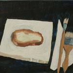 "Eva Hradil ""Malermahl"" 2018, Eitempera auf Halbkreidegrund auf Leinwand, 45 x 50 cm"
