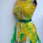 """VERSCHENKT Eva Hradil """"Kostümfädchen"""" div. Nylonsäcke, gelbes Klebeband, Tucker (für Künstlerhaus-Event zur Verfügung gestellt)"""