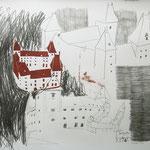 Eva Hradil, Schloss Orth an der Donau, Zeichnung und Holzschnitt, 50 x 60 cm