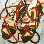 """SOLD Eva Hradil """"Tanderatand"""" 2011-2012, Eitempera auf Halbkreidegrund auf Leinwand, 130 x 130 cm"""