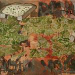 """Eva Hradil  """"Landschaftsbrote"""" 2018, Eitempera und Collage auf Molino, 45 x 50 cm"""