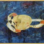 """Eva Hradil """"Hermit Crabs"""" 2019 Eitempera auf Halbkreidegrund auf LW, 80 x 90 cm"""