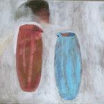 "SOLD Eva Hradil ""Das Gespräch"" Öl auf Leinwand 50 x 60 cm"