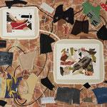 """Eva Hradil """"Trabazon / Gefüge"""" 2018, Textilien, Eitempera, Bleistift auf Molino, 130 x 150 cm"""