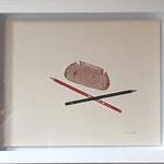 "Eva Hradil ""gekreutze Klingen"" 2019, Serigrafie, 1/1, gerahmt 30 x 40 cm"