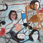 "Eva Hradil ""I, me and mine"" Eitempera auf Halbkreidegrund auf Leinwand, 110 x 130 cm"