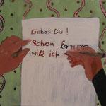 """SOLD Eva Hradil """"Schon lange will ich"""" Eitempera auf Leinwand 50 x 45 cm"""