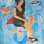 """Eva Hradil """"Mira and her shoes"""" Eitempera auf Halbkreidegrund auf Leinwand, 130 x 110 cm"""