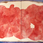 "Eva Hradil ""Brotberuf Malerei, Erdbeermarmelade"" 2015/16, Eitempera auf Halbkreidegrund auf Leinwand, 200 x 400 cm, Polyptychon"